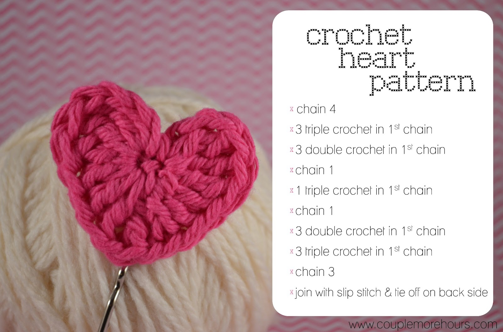 Crochet Patterns Hearts : You can use any size crochet hook. I used a G hook on my hearts.